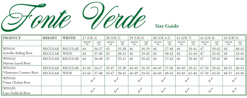 Fonte Verde Luso Size Guide - Online for Equine