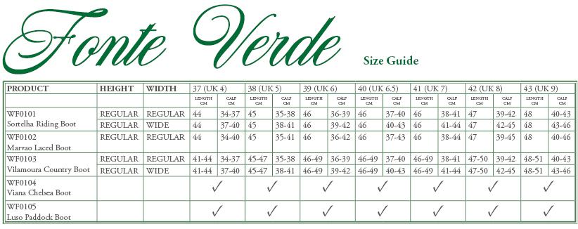 Fonte Verde Marvao Boot Size Guide - Online for Equine